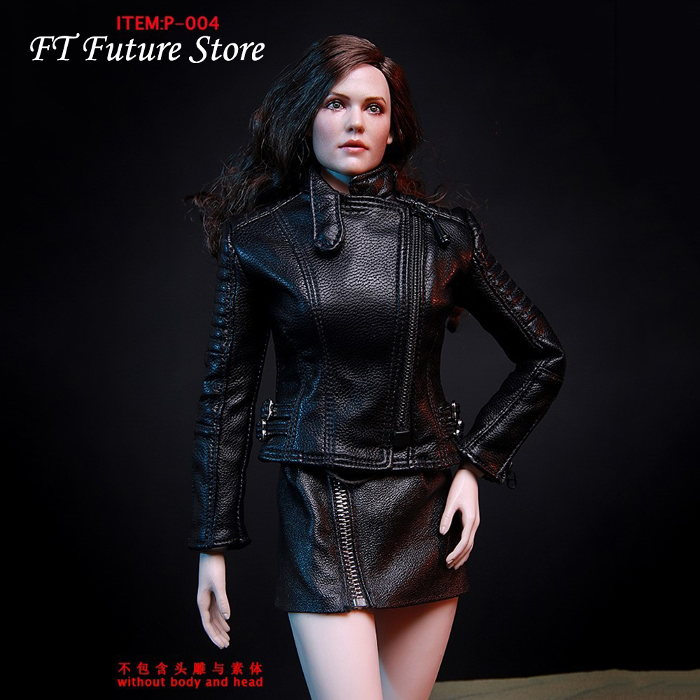 1//6 Scale Black PU Leather Skirt for 12/'/' Female Soldier Figure Accessories