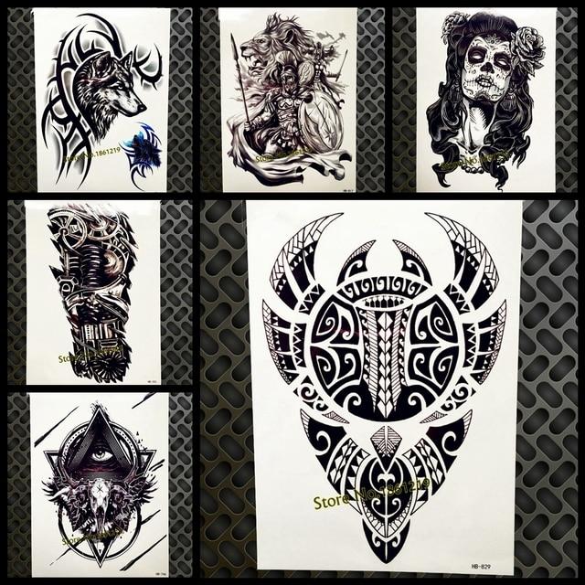 Cool Large Black Sticker Totem Design Temporary Tattoo Men Women