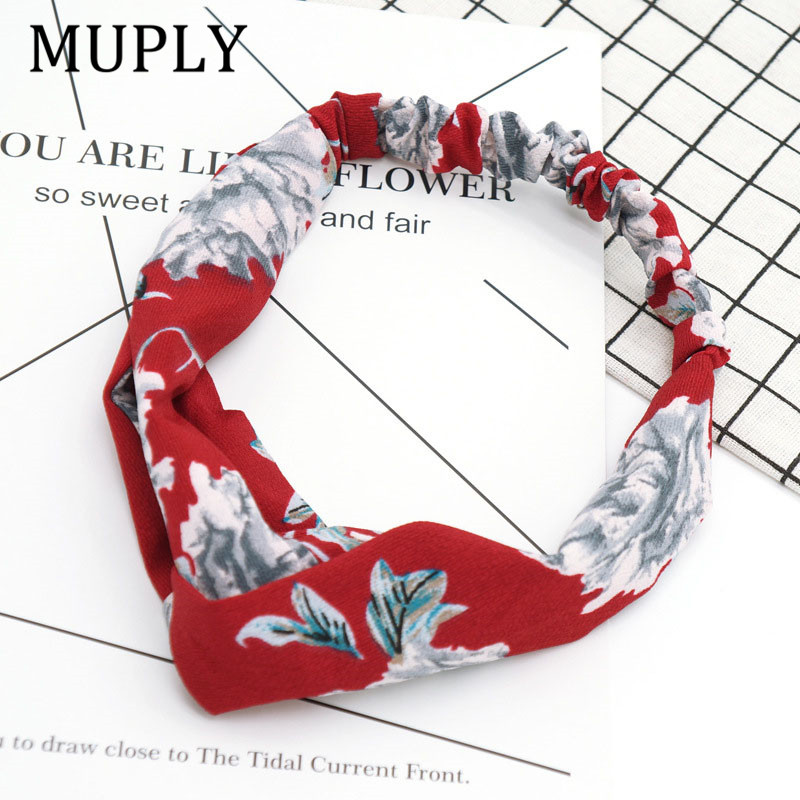 Floral print New Women Hair Accessories 2017 Fashion Bandana Women Wide Stretch Turban Twisted Floral Hairbands free