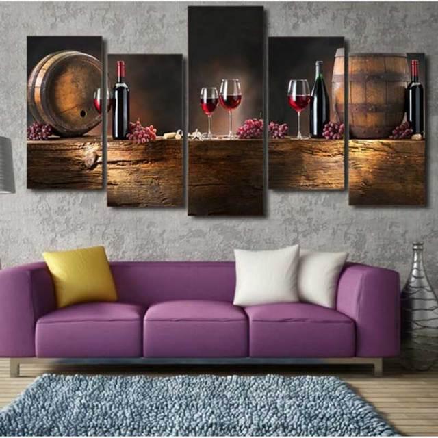 5 Stks/set Grote Canvas Vaten Wijn Muur Pictures Schilderijen ...