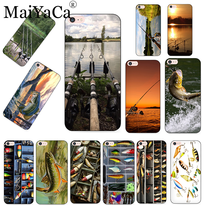 MaiYaCa FISHING 3 RODS BY LAKE Fish Colored Drawing Soft Phone Case For IPhone 8 7 6 6SPlus Xs Max Xr 5S SE 11PRO MAX Case Cover