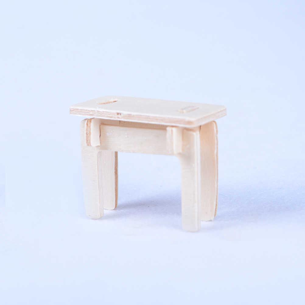 1 Set = 34PCS Kayu Rumah Boneka Rumah Boneka Furniture Skala Model Miniatur Puzzle DIY Aksesoris Set