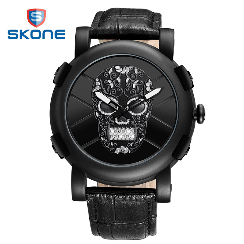 SKONE skull watch men punk style 3D flower skeleton watch top brand luxury leather quartz wristwatch luminous mens sport watches skone skull sport watch men top brand luxury mens quartz watch skeleton silicone luminous watches relogio masculino hodinky xfcs page 3