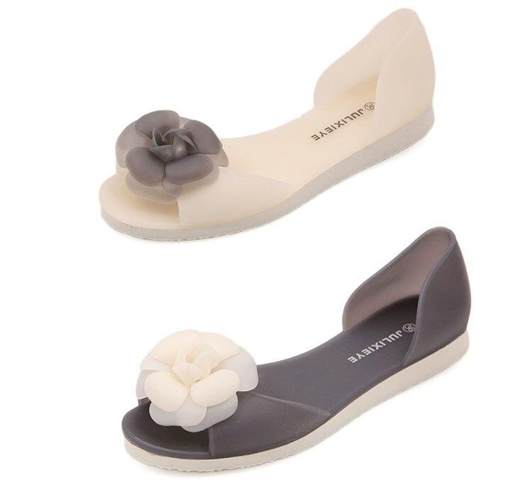Femmes Appartements D'été Style Bling Bowtie De Mode Peep Toe Chaussures De Gelée Sandale Plat Chaussures Femme 3 Couleurs Taille 36-40