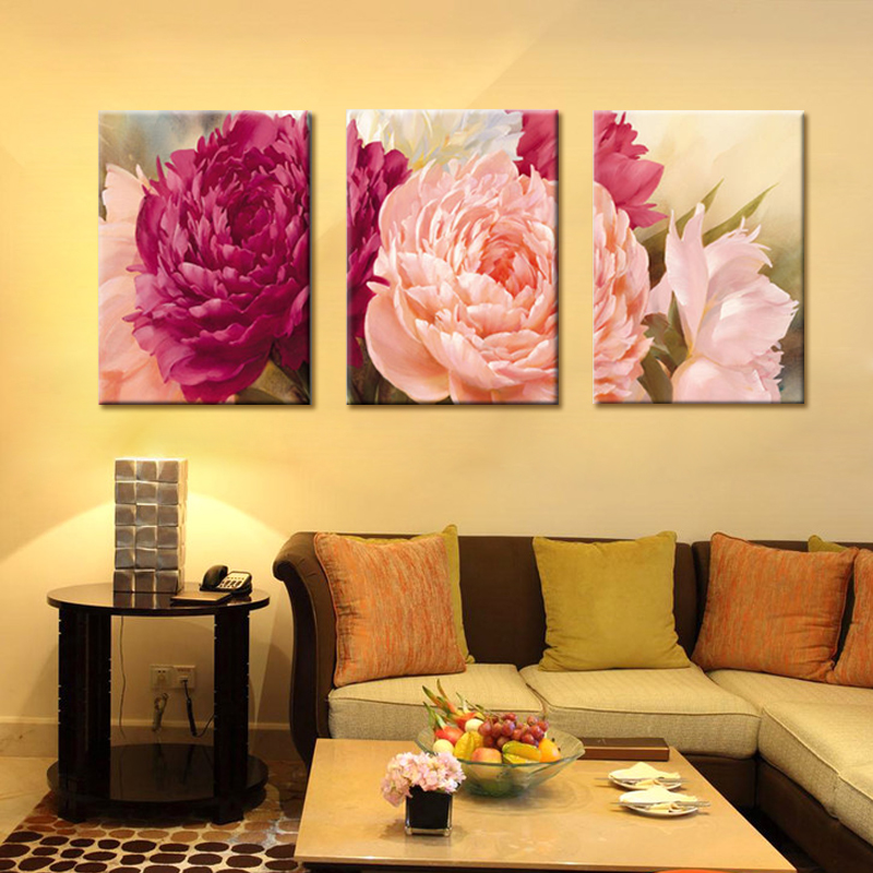 3 Panels Canvas Art Wall Art Peony Flower HD Printed Painting ...