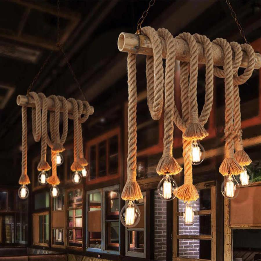 Винтажная пеньковая веревка Подвесные светильники индустриальный Лофт Стиль Классическая Освещение в помещении лампы DIY для лампы Эдисона E27 веревки света база