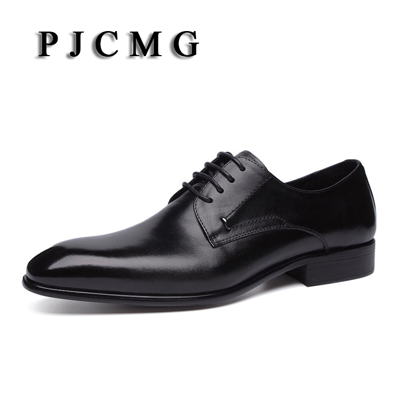PJCMG New Spring/Autumn Genuine Leather Men's Flats Pointed Toe Lace-Up Low Casual For Men Oxfords Dress Wedding Shoes pu pointed toe flats with eyelet strap