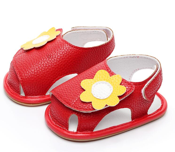 2020 Baby Summer Flower Shoes Cute Baby Girls Sandals Rubber Bottom First Walker Shoes Newborn Baby Sandal For 0-24M