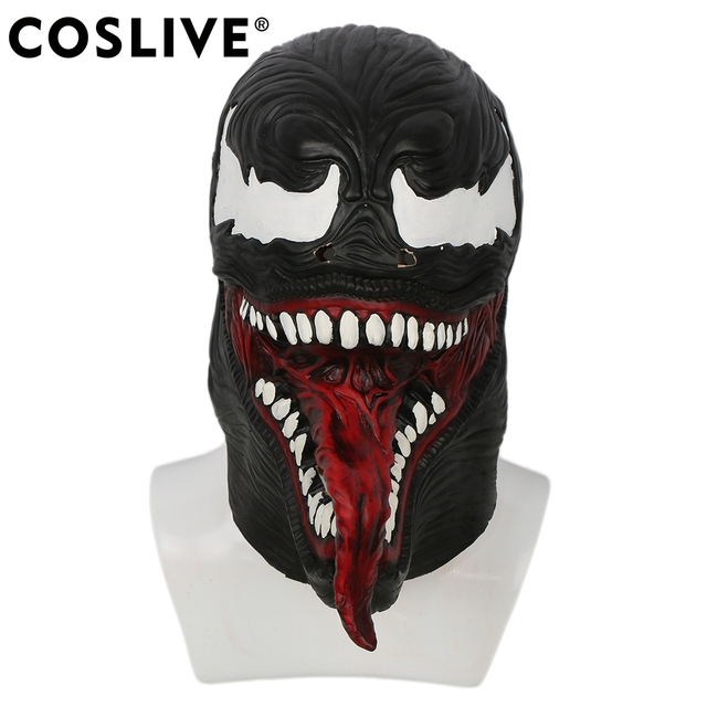 Coslive Spider Man Venom Mask Black Red Latex Hood Mask For