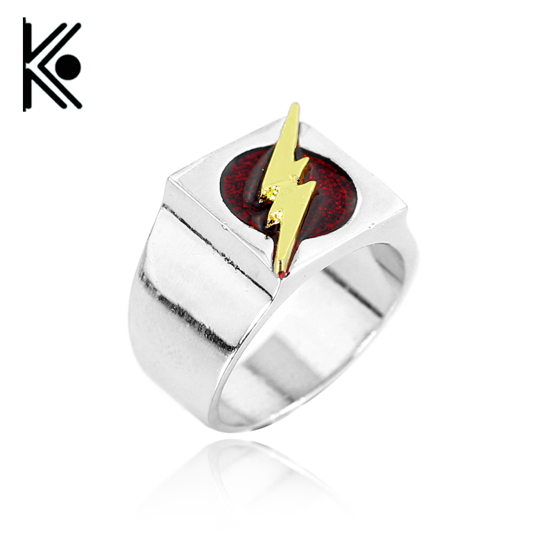 Flash ring Superhero Ring with Gold Flash Lighting Logo Silver Ring,DC Movie Comic Ring Jewelry High quality