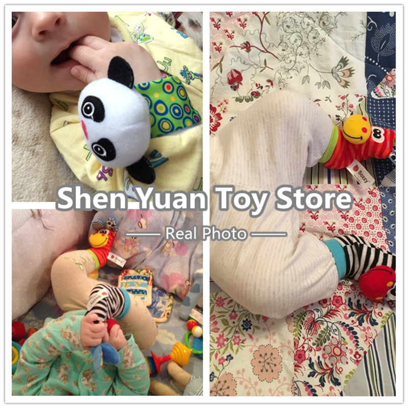 Sozzy-2pcs-Soft-Baby-Toy-Wrist-Strap-Socks-Cute-Cartoon-Garden-Bug-Plush-Rattle-with-Ring-Bell-0M-5