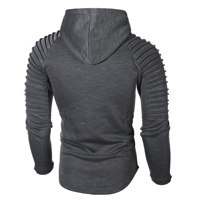 Fashion Mens Hoodies Solid Color Hooded Slim Sweatshirt Hip Hop Hoodies Sportswear Tracksuit 3