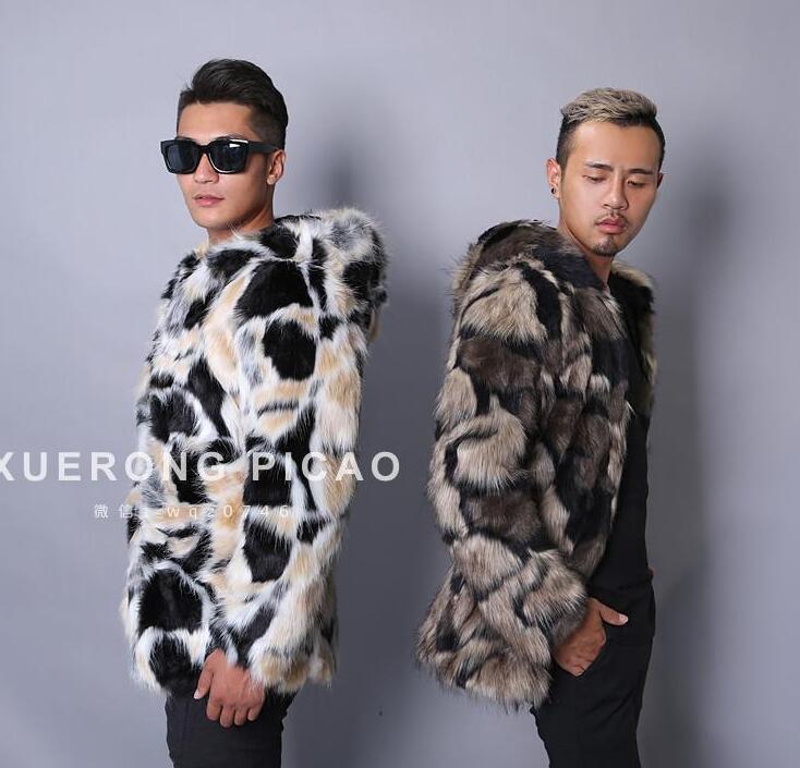 Maskë e ngrohtë faux lepuri lepuri mantel xhaketë lëkure burra - Veshje për meshkuj - Foto 5