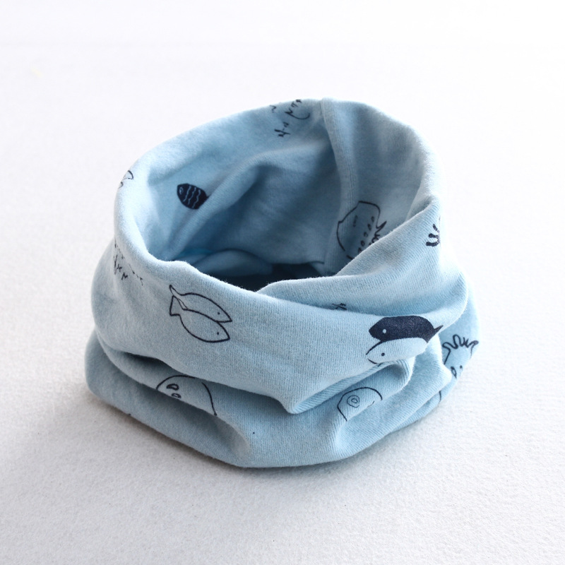 Осенне-зимний детский хлопковый шарф для девочек и мальчиков теплые шарфы Детский круглый кольцевой ошейник Детский шарф детский волшебный шейный платок - Цвет: fish 7