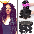 Malaysian Body Wave 3Bundles With Ear to Ear Lace Frontal Closure,7A Malaysian Virgin Hair With 13X4 Part Baby Hair Frontal Sale
