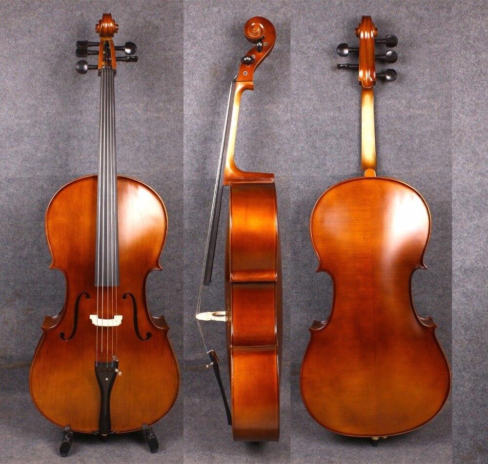 Full Size Cello 4/4 5 String Sweet Tone Handmade Good Maple Spruce Bad Bow