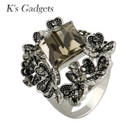 K S Gadgets Top Quality Titanium Ring Cube Austrian Crystal Jewelry Fashion Rhinestone Flowers Cubic Zirconia