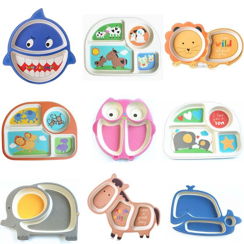Cartoon Baby Dishes Bamboo Fiber Sub-grid Plates Creative Irregular Children Tableware For Infant Toddler Kids Feeding Utensils