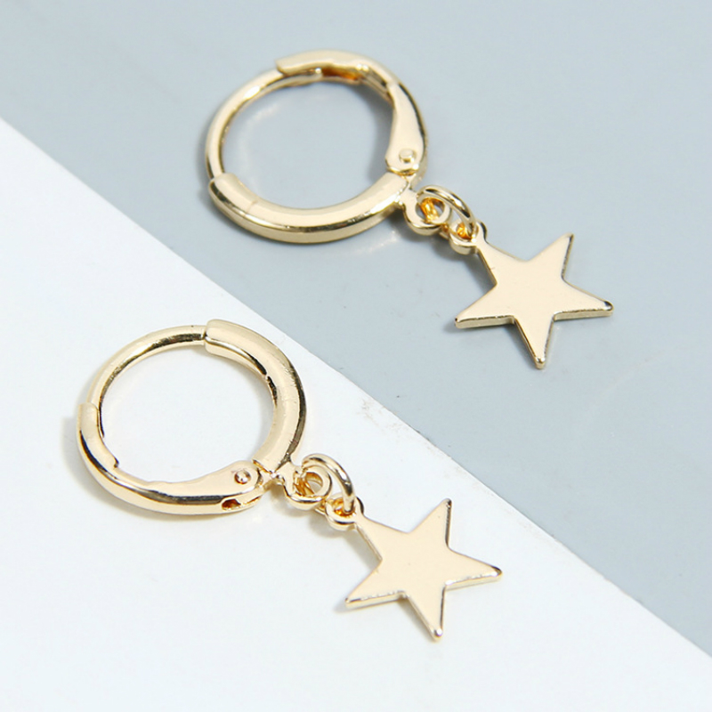 New Earrings Fashion Five-pointed Star Moon Leaves Cross Love Geometry Popular Gold  Earrings Hot Sale Jewelry Wholesale