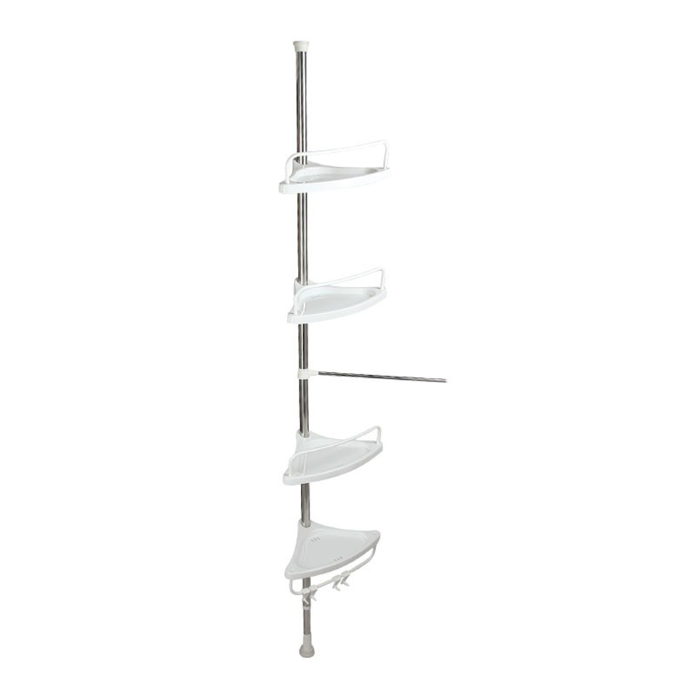 Non Rust Bathroom Telescopic Corner Shelf Storage 4 Tier Shower Caddy Organiser Matte Silver Bathroom Shower Caddies