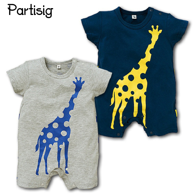Baby Rompers Giraffe Cartoon Short Sleeve Cotton Jumpsuit Baby Boy Summer Clothing Navy Grey newest 2016 summer baby rompers clothing short sleeve 100
