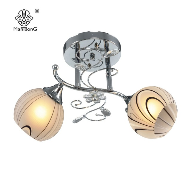 Klassieke Plafondlamp 2 Glas Shades Slaapkamer Verlichting Woonkamer ...