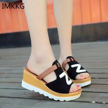 Women Slipper Sandals Heels Wedges Platform Leather Peep toe Crystal Elegant Female Sandals Ladies Mules clogs Summer Shoes m182