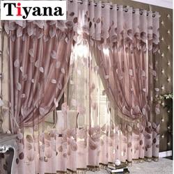 Luxo moderno folhas designer cortina de tule janela sheer cortina para sala estar quarto cozinha janela painel triagem p347x