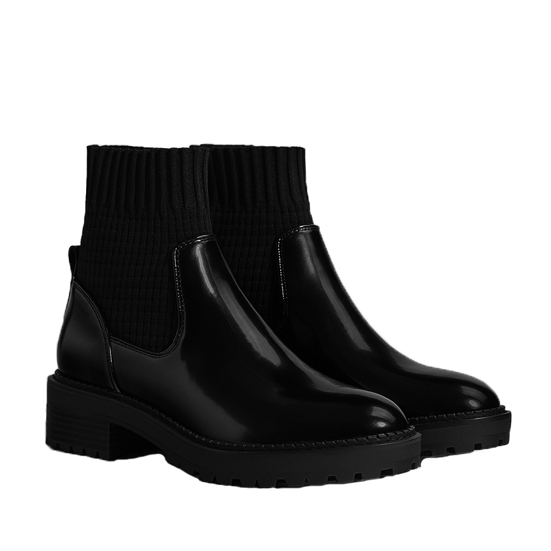 Talons Chaussettes Cheville Show Femmes Chaussons Botas Plate Femme Bottes Mode As Noir Chaussures Hiver Mujer Chaude forme Glissement Rond Med Automne Bout N0Onymvw8P