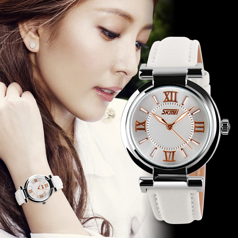 New Fashion Watch Women Dress Quartz-Watch Casual Wristwatch Women Relogio Feminino Relojes Mujer Leather Waterproof Clock Skmei new geneva ladies fashion watches women dress crystal watch quarzt relojes mujer pu leather casual watch relogio feminino gift