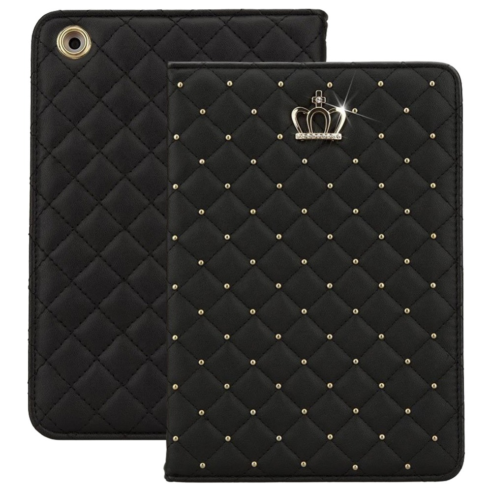 Fashion Crown Bling Diamond Protective Case for iPad 5 Stand Leather Folio Smart Cover for Apple iPad Air Tablet Case CL05
