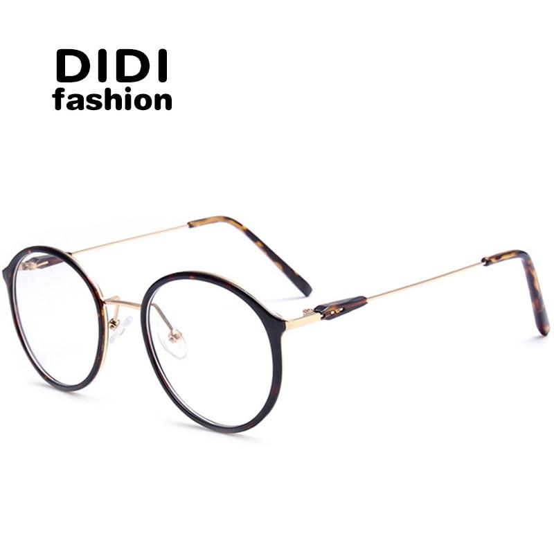 DIDI Titanium Leopardglasögon För PC Unisex Runda Metallramglasögon Rensa Optiska Glasögon Receptramar Lunette U602