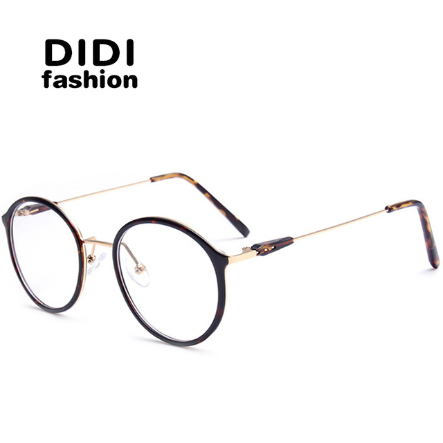 ac87834dac42 DIDI Titanium Leopard Glasses For PC Unisex Round Metal Frame Glasses Clear  Optical Eyeglasses Prescription Frames Lunette U602