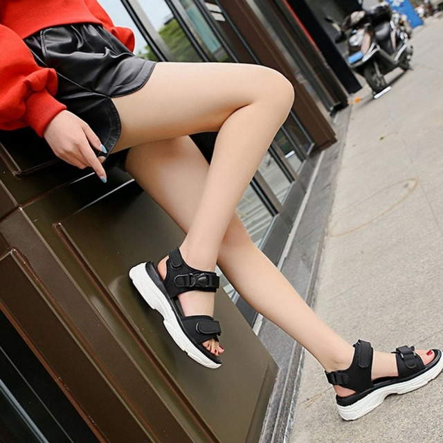 a22abbab071b Spring Summer All-match Style Sandals Simple Anti-slip Women Girl Students  Flat Shoes Platform Shoes Casual Outdoor Daily Wear