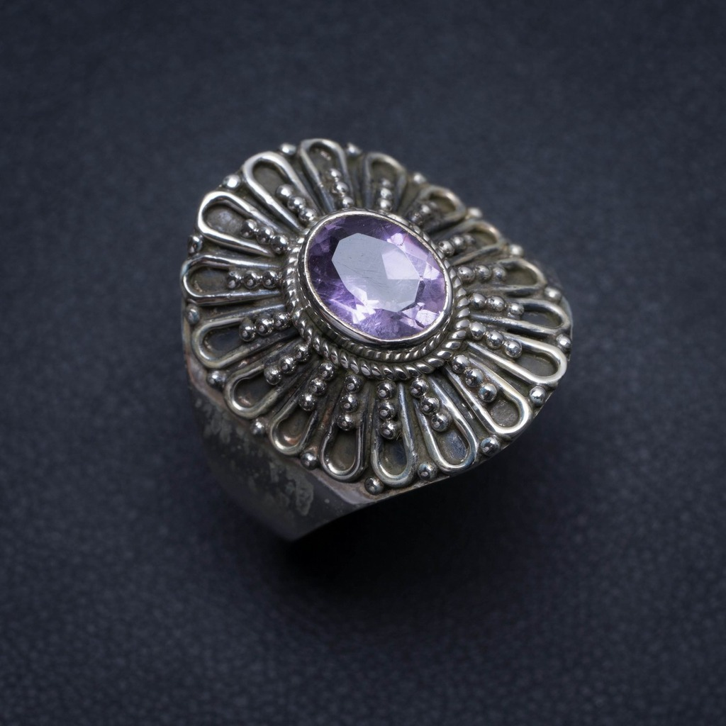 Natural Amethyst Handmade Unique 925 Sterling Silver Ring, US Size 9 S2183Natural Amethyst Handmade Unique 925 Sterling Silver Ring, US Size 9 S2183