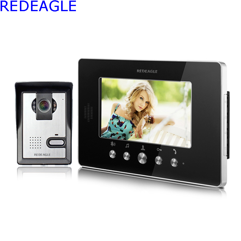 REDEAGLE Home Wired 7 inch Apartment Video Door Phone Intercom Accesss control System with 1 Monitor + 1 Camera + 4M Cable Free) wired video door phone intercom system with 7 inch color monitor 700tvl aluminum alloy camera for home security