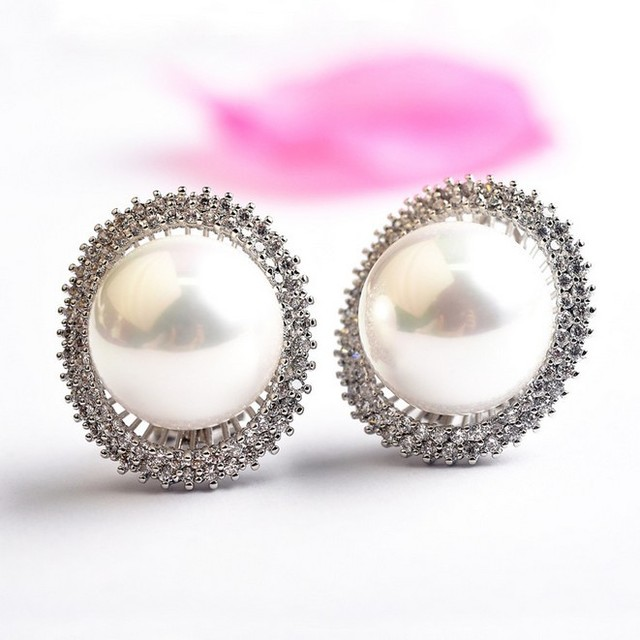 Natural simulated pearl stud earrings for women Fashion Jewelry silver plated Crystals Earrings Brincos ouro Bijoux women