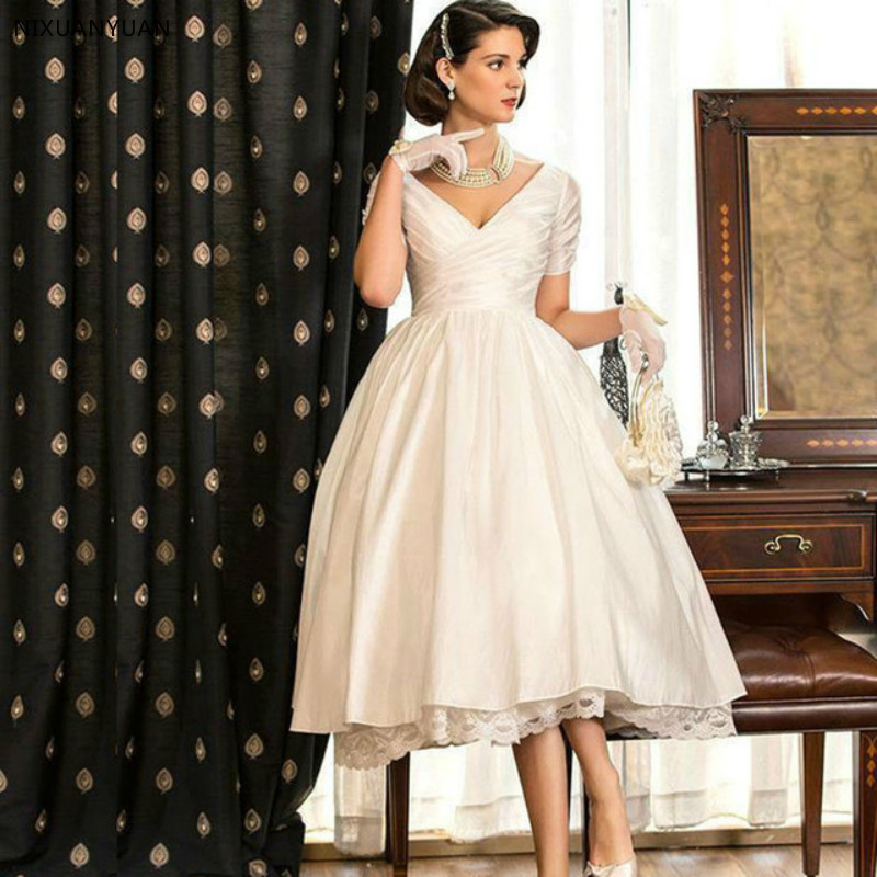 New Vestido De Noiva Curto 2019 Vintage A-Line Short Wedding Dress V-Neck Short Sleeve Mid-Calf Length Bridal Gown Robe Mariage