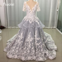 Real Photo Luxury Flower Pearls V Neck Sheer Back Tiered Ball Gown Wedding Dresses 2019 Long Bridal Gown Grey Wedding Gown FW67