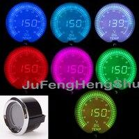2 52mm Colorful Oil Temp Gauge Celsius 12V Car 2 Inch 7 Color LED Light Instrument