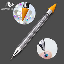 1pcs Double Head Wax Nail Rhinestone Picker Dotting Pen Self-Adhesive Dot Head Tips Pencil Manicure Beads Applicator Tool