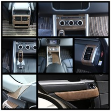 Luxury Wood Grain ABS Chrome Trims Interior Cover Trim Frame Decoration Car Styling For Range Rover Sport 2014 2015 2016 2017 black dark ash wood grain abs chrome trims interior cover trim frame decoration car styling for land rover discovery sport 15 17