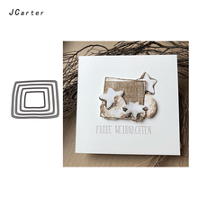 JC Metal Cutting Dies for Scrapbooking Craft Square Frame Background Stencil Die Cut Folder Paper Card Making Model Decoration