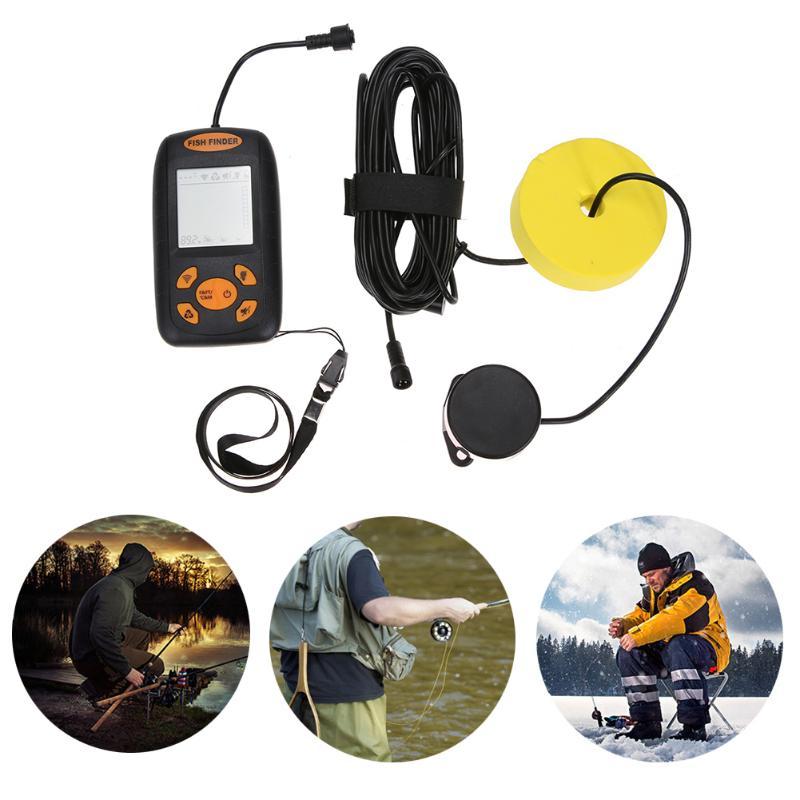 Portable Water-resistant Wire Ultrasonic Fish Finder Echo Sounder 0.6 to 100M Transducer Sensor Depth Finder for River Lake portable fish finder bluetooth wireless echo sounder underwater bluetooth sea lake smart hd sonar sensor depth