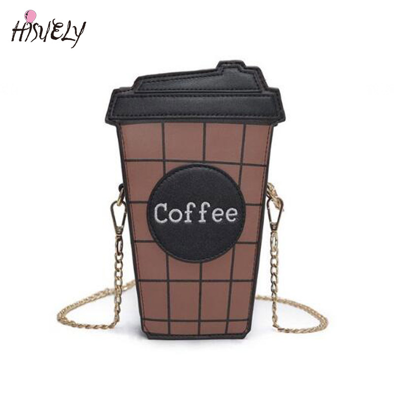 2018 Personality funny coffee cup shoulder bag letter design hit color plaid mini chain clutch purse ladies messenger bag