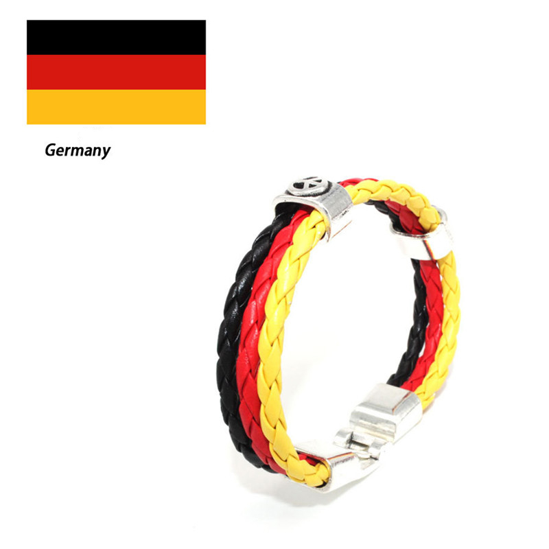 2018 Hot France Flags Sports 3strands Rope Braided Surfer Leather Bracelet Women Men Sport Bracelets For World Cup National In Wrap From Jewelry
