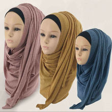 Winter Women Cotton Muslim Jersey Hijabs Scarf Islam Solid Color Underscarf Female Long Head Turban Full Neck Cover