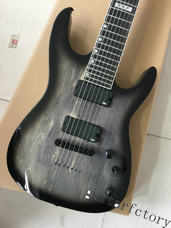 Custom Shop Black 7 Strings ESP Electric Guitar LTD MH-1000 China Guitar Body & Kits Custom Available custom shop china lp electric guitar in desert burst color quilted top guitar body lefty custom available