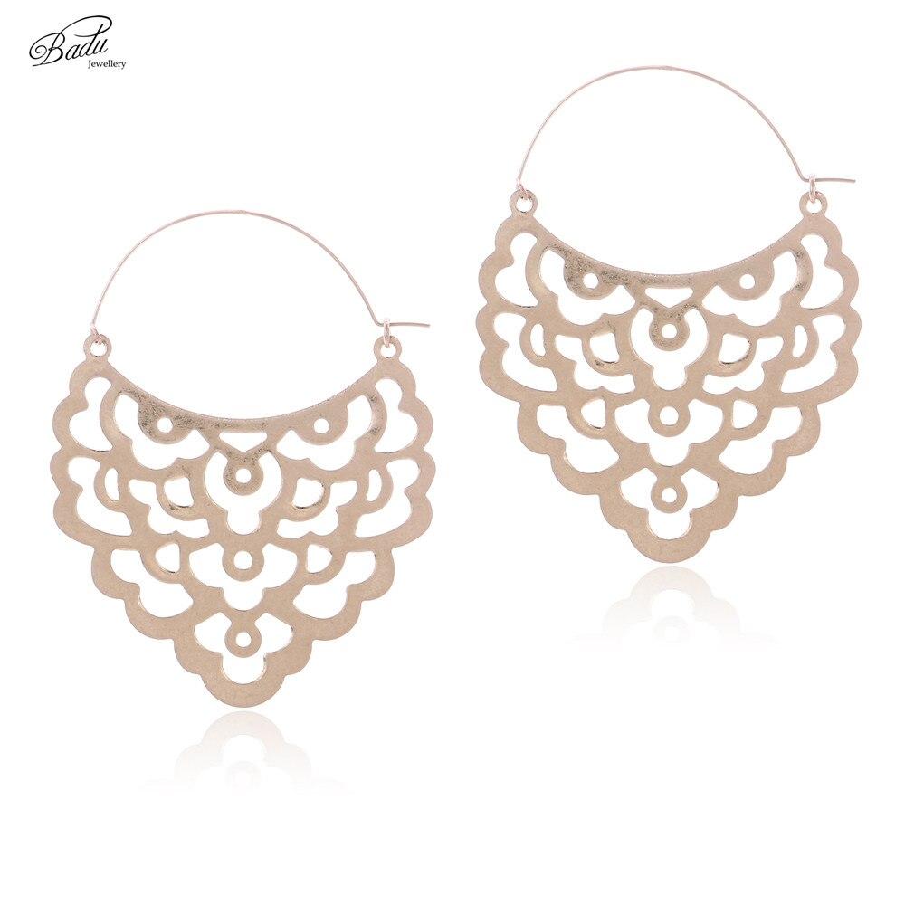 Badu Vintage Hoop Earring Women Totem Retro Religion Big Statement Earring Unique Fashion Punk Jewelry