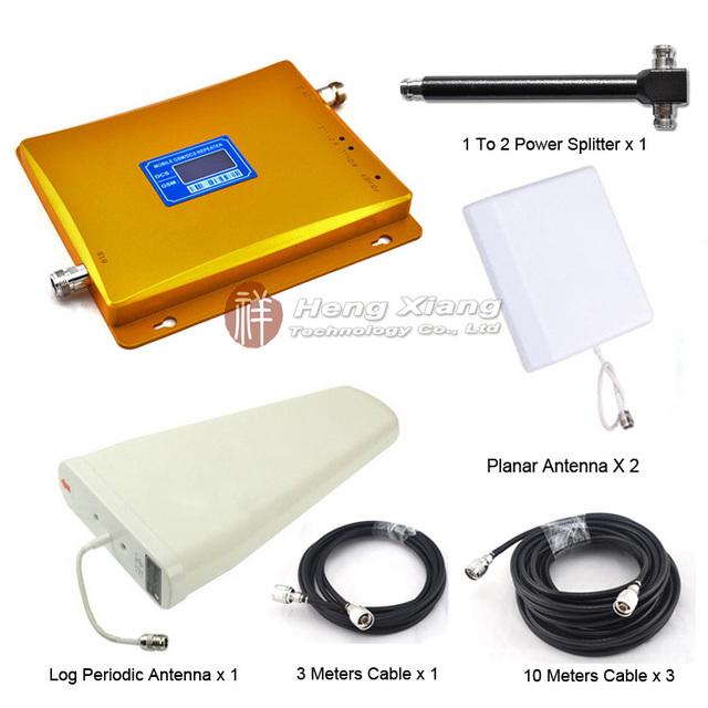 Dcs 1800 Mhz GSM 900 Mhz Dual Band teléfono móvil amplificador de señal con antena log-periódica / Planar antena / divisor de la energía